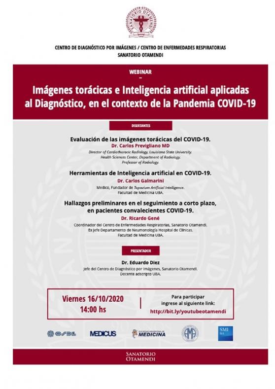 Webinar - Imágenes torácicas e Inteligencia artificial aplicadas al Diagnóstico, en el contexto de la Pandemia COVID-19